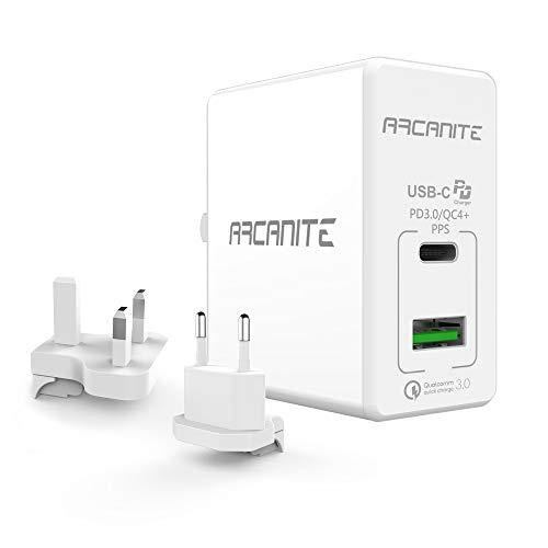 ARCANITE Premium USB-Ladegerät, USB C PD 3.0 / QC4 + PPS (30 W) und USB A QC 3.0 (18 W), für US / UK / EU