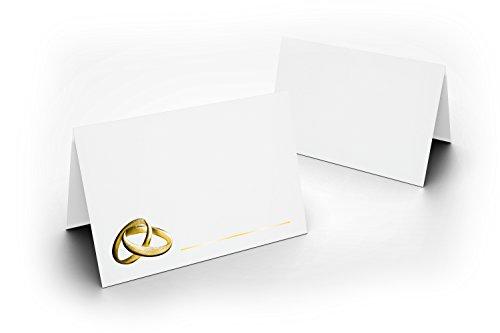 Lot de 100 cartons de table de mariage (blanc avec anneaux Gold avec verni brillant UV pour mariage, Charmante décoration de table, format 8,5 x 11,2 cm