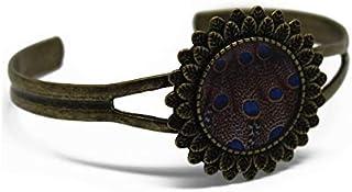 Bracciale retro resina Peacock piuma blu marrone regolabile rotondo 20mm ottone bronzo regalo personalizzato noel amico fe...