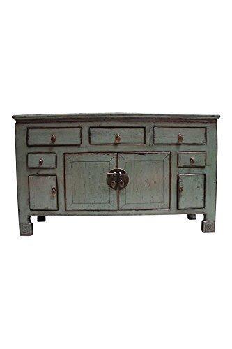 Asien Lifestyle Lowboard Sideboard Altartisch f. Buddha Meditation´s Tisch Tibet Natur Holz Asia TV Möbel Möbelstück Massivholz