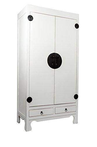 SAM® Hochzeitsschrank Mian aus Mahagoni, weiß lackiert, mit 2 Türen + Schubladen, Design-Dielenschrank aus Massivholz, Unikat, 90 x 50 x 180 cm