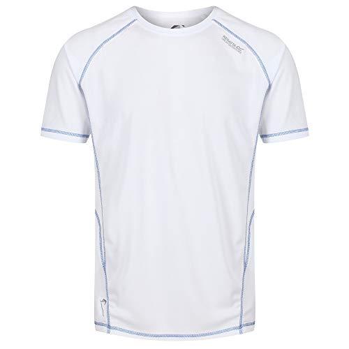 Regatta T- Shirt Technique Sport Manches Courtes VIRDA II léger, Respirant et sèche Rapidement Polos/Vests Homme, White, FR : 3XL (Taille Fabricant : XXXL)
