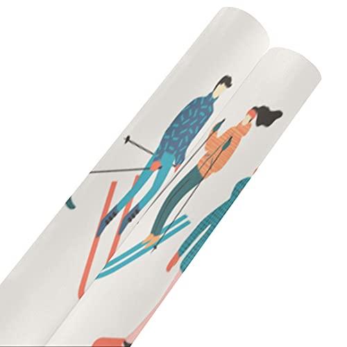 Esquiadores y snowboarders - Papel de seda para regalo de dibujos animados de 58 x 23 pulgadas, 2 rollos de papel de regalo, papel de regalo de cumpleaños, cumpleaños para el día de la madr