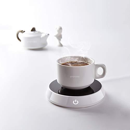 Bioaley Taza de café con alfombrilla para calentar el posavasos - Encendido/Apagado para el coche, portátil, taza de café, taza de calor, taza de café, taza de calentamiento, regalo