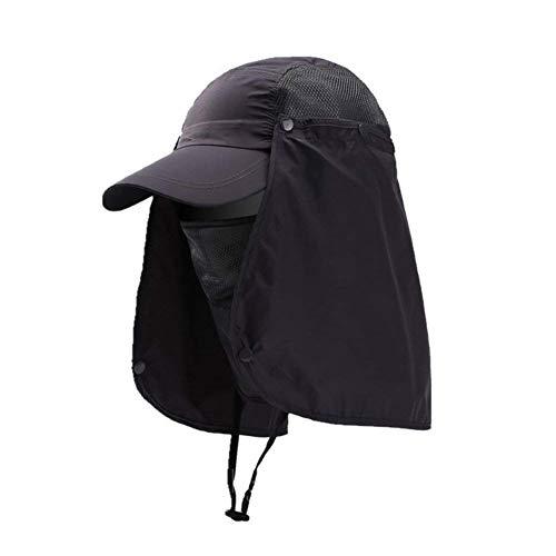 Honkbalpet, nekbescherming, gezichtsbescherming, zonnehoed voor heren, uv-bescherming, uv-bescherming, UPF 50+ hoedje, sneldrogend, vissenhoed, met verwijderbaar masker, paardrijden, trekking