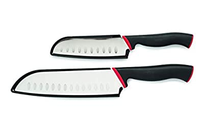 Cooking Light 2 Piece 5 Inch & 7 Inch High Carbon Stainless Steel, Ergonomic Handle, Hollow Edge Blade, Knife Set, Black/Red