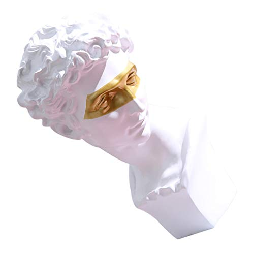 IMIKEYA David Head Statues Greek Resin Sculptures Michelangelo David Bust Figurine Replica Desktop Ornament for Home Office Tabletop Decor