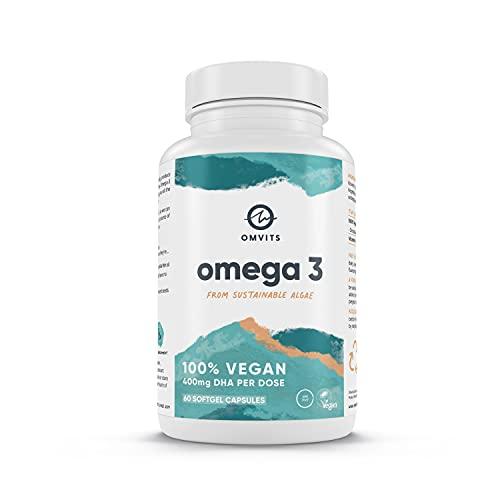 Omvits Vegan Omega 3 DHA Supplement from Algae Oil - 60 Capsules
