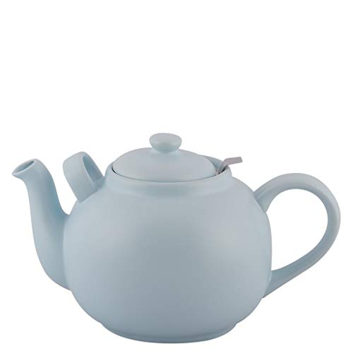 Plint Teekanne, Stövchen - 2,5 Liter - Eisblau - Steingut mit Edelstahl Sieb