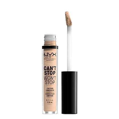 NYX Professional Makeup Can't Stop Won't Stop Contour Concealer - wasserfester flüssiger Abdeckstift, Kaschieren & Highlighten, 3,5 ml, Vanilla 06