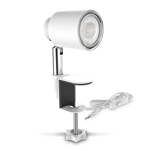 B.K.Licht LED Klemmleuchte inkl. 5W GU10 Leuchtmittel I Warmweiß I Schwenkbar I Neigbar I Kippschalter I Metall I Weiß-Matt