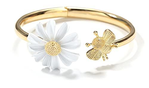 Anillos abiertos Pulsera de abeja Daisy, diseño simple y estilo de moda para mujeres niñas bracelet-one size