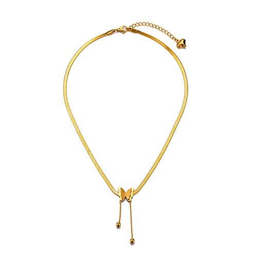 EHDFS Collar con colgante de mariposa para mujer, chapado en oro, collar de mariposa delicado de acero inoxidable, ideal para el día adecuado