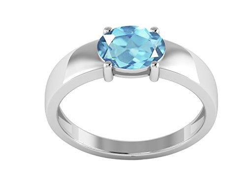 Shine Jewel Anillo de Bodas de Piedra de topacio Azul Talla Oval de Plata de Ley 925