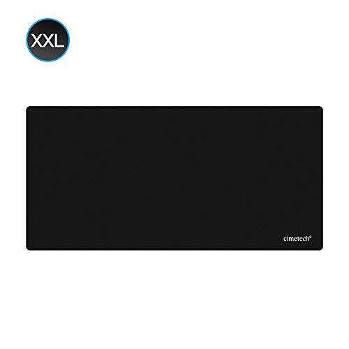 Cimetech XXL Gaming Mauspad groß - 645 x 315 x 1mm Extra-breites Gaming Mauspad Large Size Fransenfreie Ränder - rutschfest XXL Mousepad - Superfeine Faseroberfläche (XXL1MM 1PCS, Black)
