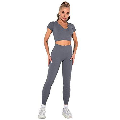 Damaibestcss Gimnasio de cintura alta polainas deportivas, fitness traje de yoga de manga corta, sin costuras de punto sexy pantalones de chaleco deportivo femenino-gris a_L