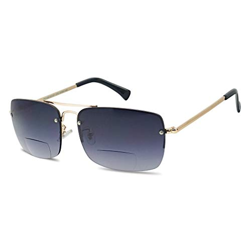 Classic Square Aviator Bifocal Sun Reading LIghtweight Sports Sunglasses for Men and Women (Gold | Smoke Gradient, 2.75)