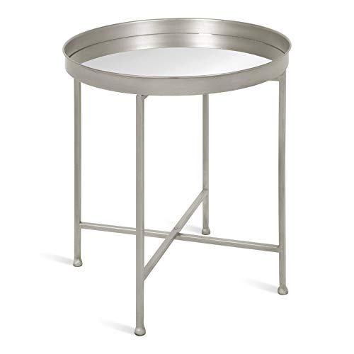 Kate and Laurel Celia Metal Foldable Round Accent Table, 18.25″ x 18.25″ x 22″, Glass Surface and Silver Frame, Modern Minimalist Design and Detachable Magnetic Tabletop