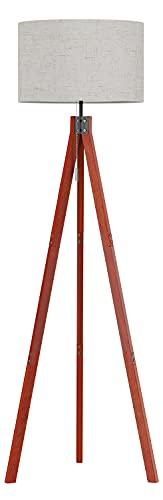 SUNMORY Stehlampe,Stehlampe Wohnzimmer mit 3 Farbtemperaturen 9W LED Lampe & Zugkettenschalter, E27 Lampensockel Stehleuchte Holzstativ für Schlafzimmer, Arbeitszimmer & Büro, Leinen lampenschirm