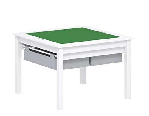 UTEX 2 in 1 Kids Construction Play Table with Storage Drawers and Built in Plate White