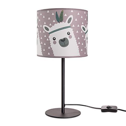 Kinderlampe LED Tischlampe Kinderzimmer Lampe Mit Lama-Motiv, Tischleuchte E14, Lampenfuß:Schwarz, Lampenschirm:Pink (Ø18 cm)