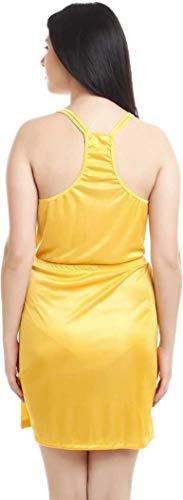 You Forever Women's Silk Solid Satin knee-long Short Chemise Honeymoon wear Loungewear Sleepwear Nightwear Elegant Nighty Along with Adjustable Tie-Knot and Cross Strip (Free Size, Yellow)
