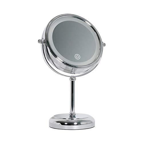 JKCKHA Espejo de baño con Luces, LED Iluminado Baño de Maquillaje con Espejo de Aumento de 5X, batería o USB accionado, de Doble Cara Redonda Encimera Espejo Decoración hogareña
