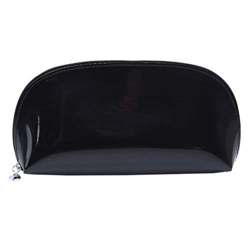 SUNSKYOO Woman Wash Bag PVC Sac de Rangement portatif de Voyage Sac de Maquillage à glissière étanche, Noir
