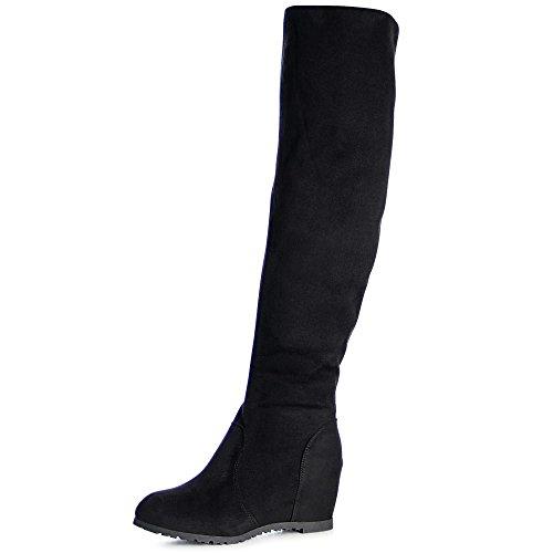 topschuhe24 993 Damen Stiefel Overknee Keilabsatz, Farbe:Schwarz, Größe:36 EU