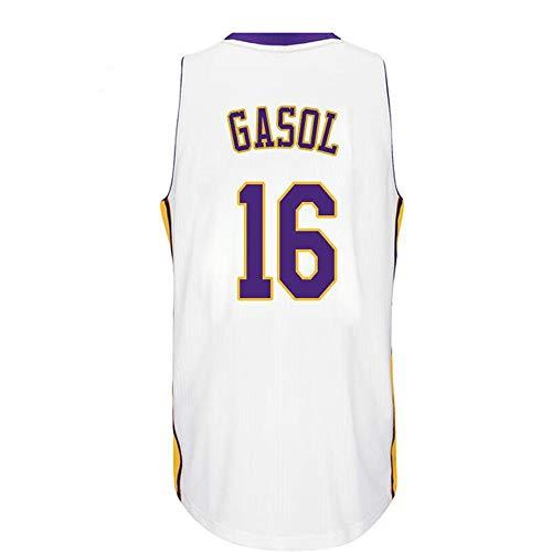 ZAIYI-Jersey Camiseta de Baloncesto Hombre -PAU Gasol # 16 -Camiseta sin Mangas Swingman Jersey de Los Angeles Lakers- Swingman (Color : A, Size : XS)