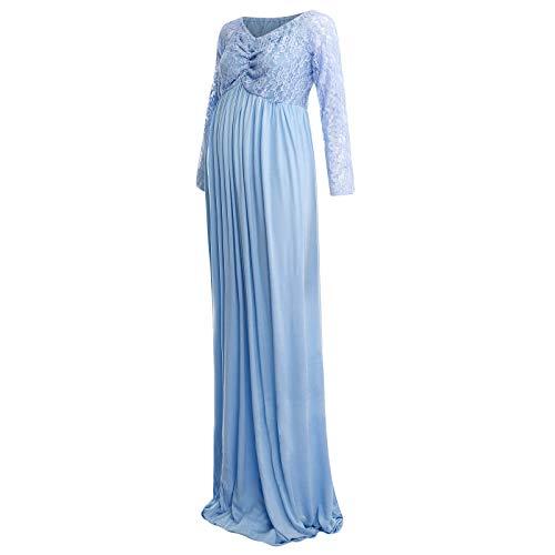 Vuncio - Vestido de encaje para maternidad, vestido de maternidad, vestido de maternidad, gran tamaño, elegante para playa, cócteles o fiestas azul M