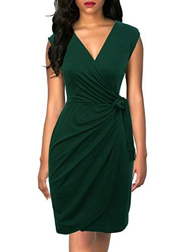 Berydress Women's Vintage V-Neck Sheath Casual Party Work Faux Black Wrap Dress (L, 6028-Dark Green)