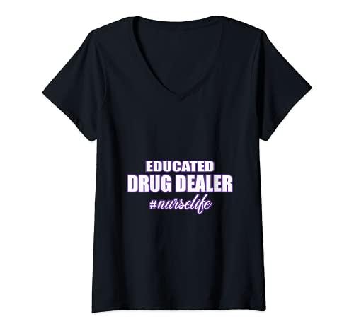 Mujer Camiseta de enfermera divertida con educacin para farmacia Nurselife Camiseta Cuello V