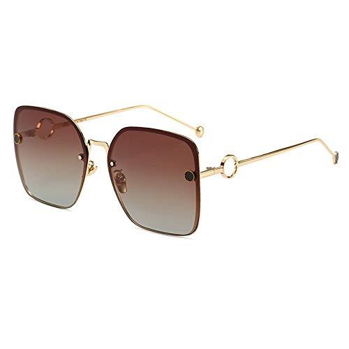 WHSS Gafas de sol polarizadas con marco grande para mujer, gafas de sol de película de color para mujer, espejo de rana (color: marrón)