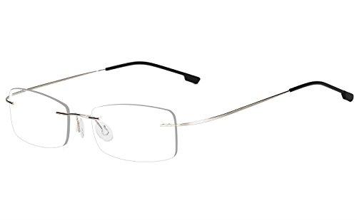 Agstum Mens Womens Titanium Alloy Flexible Rimless Frame Optical Eyeglasses 51mm
