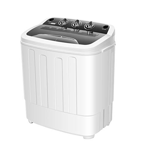 VIVOHOME Electric Portable 2 in 1 Twin Tub Mini Laundry Washer and Spin Dryer Combo Washing Machine with Drain Hose for Apartments 13.5lbs Black & White