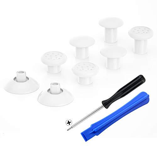 eXtremeRate Thumbsticks für PS4 Controller,ergonomischer Analogsticks Analog Sticks Aufsätze Ersatz Joystick für PS4 Playstation 4 Controller-Weiß[ThumbsGear]