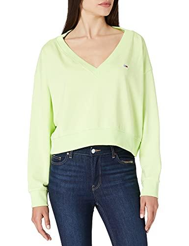 Tommy Jeans Damen TJW SOFT V NECK SWEATSHIRT Pullover, grün, M