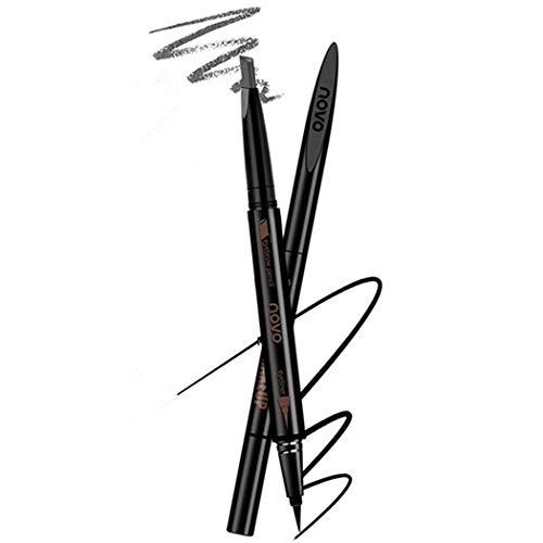Lápiz de cejas marrón impermeable y combo de delineador de ojos negro, herramienta de maquillaje de maquillaje de lápiz de cejas retráctil automático (3 # gris humo)