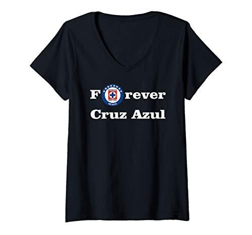 Womens Forever Cruz Azul Shirt Orgullo Mexicano V-Neck T-Shirt
