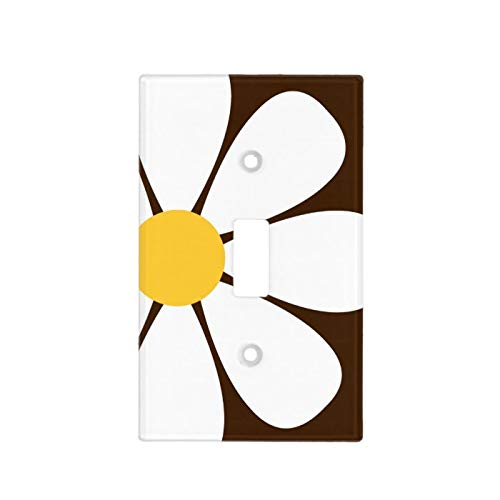 1-Gang Wall Plate Cover, Single Toggle Switch Cover White & Yellow Daisy Flower On Brown Classic Beadboard Unbreakable Faceplate