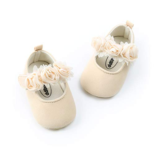 ENERCAKE Baby Girl Shoes Soft Sole Floral Newborn Infant Mary Jane Flats Princess Wedding Dress Shoes(0-6 Months Infant  A-Beige)