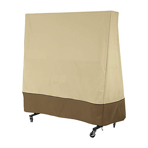 Naiveroo Ping Pong Table Cover Tennis Table Cover, 210D Heavy-Duty Weatherproof All Weather Indoor/Outdoor(65 x 27.5 x 72.8 inch) (Beige)
