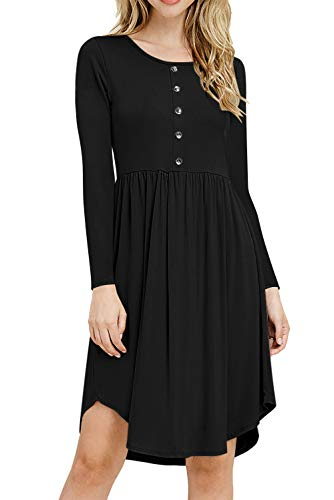 YOINS Damen Kleider Langarm Sommerkleid V-Ausschnitt Tshirtkleid Winterkleid für Damen mit Knopfen Tunika Brautkleid