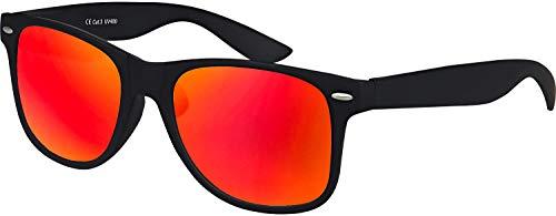 Hochwertige gummierte Nerd Sonnenbrille Rubber im Retro Stil Vintage Unisex Brille mit Federscharnier Blau und Rot verspiegelte Gläser (Schwarz - Rot verspiegelt)