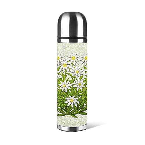 Edelweiss Swiss Mountain Flowers Bottiglia d'acqua in acciaio inossidabile, Thermos Cup Vacuum Cup Thermos Flask Tazza da caffè Tazze da viaggio 500 ML