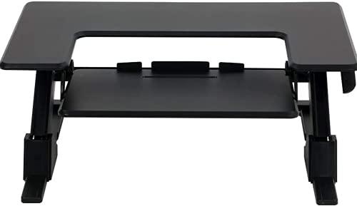 SpassWay 2 en 1 HVS-B01 - Soporte de escritorio (altura regulable, con muelle de gas, soporte ergonómico para monitor con soporte para teclado desmontable)