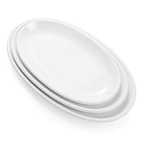 Sweese 742.101 Oval Serving Platters, White Porcelain Serving Platters for Party, Large Oval Serving Trays Serving Plates for Fish Dish, Steak, Restaurant, Dessert Shop, Set of 3, 12.5/14/15.5 Inches