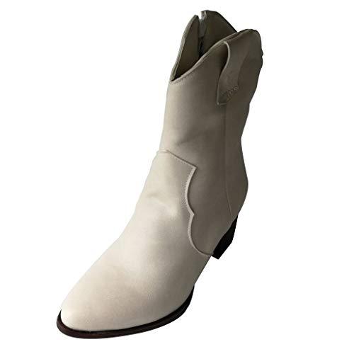 VJGOAL dames laarsjes, vrouwen booties grote maten vrije tijd effen retro ritssluiting dikke hak hoge hakken vrouwen boots