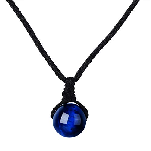 Yumilok Frauen Damen Mädchen Halskette Schwarz Cotton Cord Halsband mit Kristall Anhänger Geschenk für Mutter Freundin